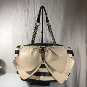 Betsey Johnson Large Bow Purse Hand Bag Cream